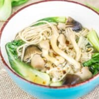 Enoki Mushroom Soup with Soba Noodles, Lemongrass, and Ginger