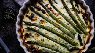 Dinner: Asparagus Quiche with Sweet Potato Crust
