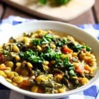 Lemony Lentil Stew With Kale (Vegan)