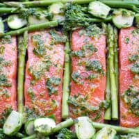 Sheet Pan Salmon & Green Vegetables With Herb Garlic Sauce