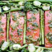 Sheet Pan Salmon & Green Vegetables With Herb Garlic Sauce