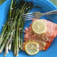 Lemon Garlic Salmon & Parmesan Asparagus