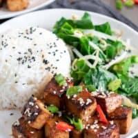 Asian Tofu with Spicy Garlic Prune Sauce