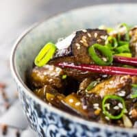 Spicy stir fried Szechuan eggplant